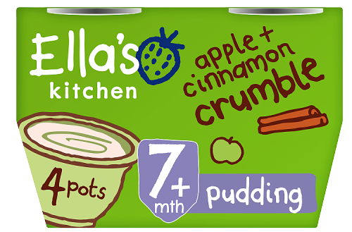 Ellas kitchen apple cinnamon crumble pots 7 months front of pack O