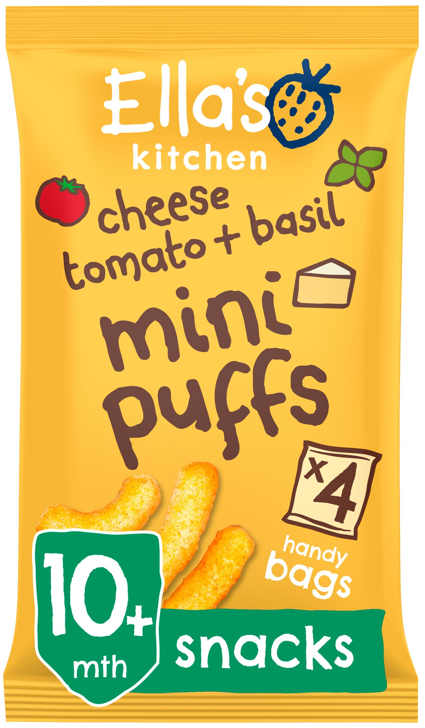 Ellas kitchen mini puffs cheese tomato basil bag front of pack O