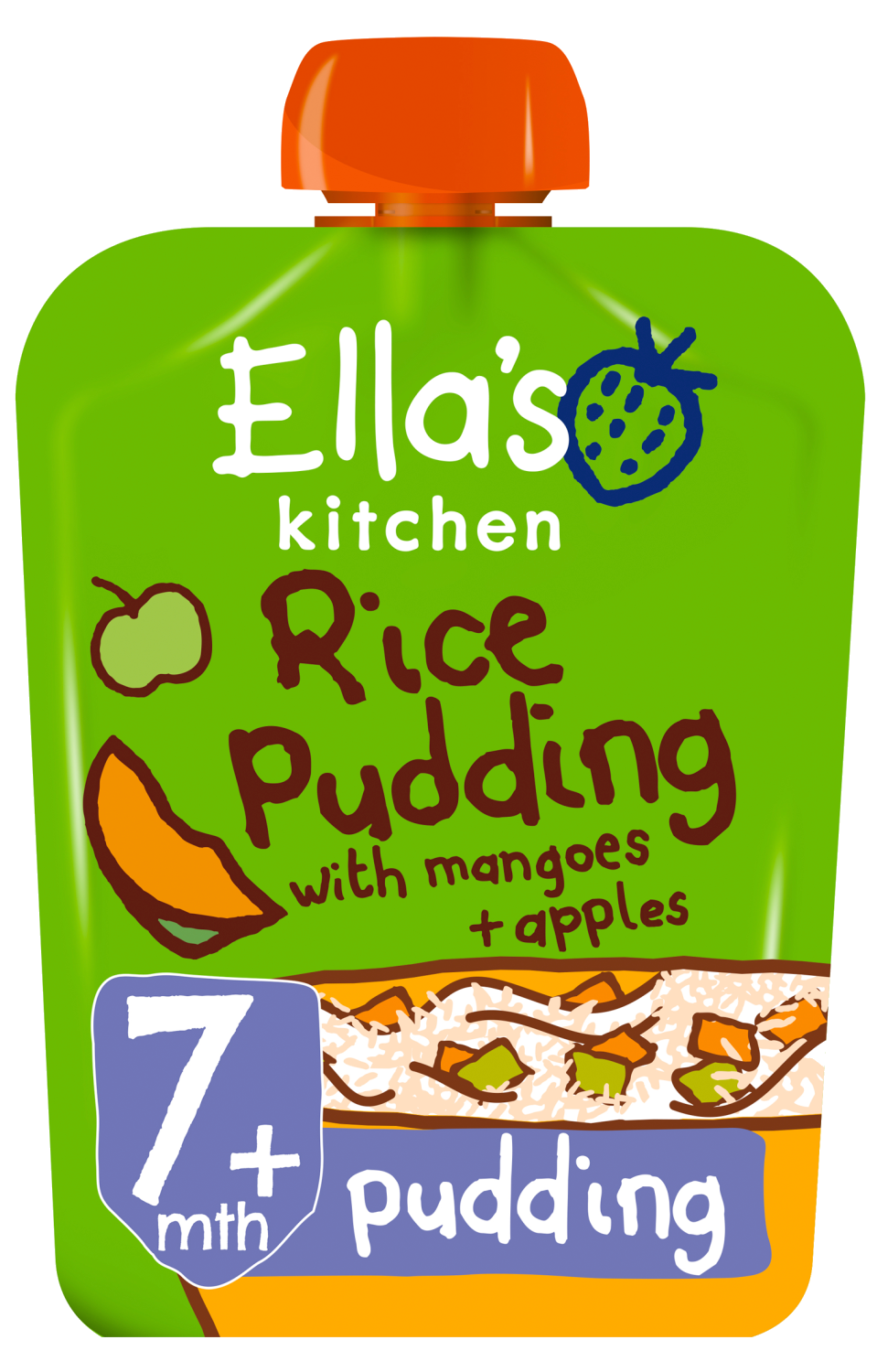 Ellas kitchen rice pudding mangoes apples pouch 7 months front of pack O