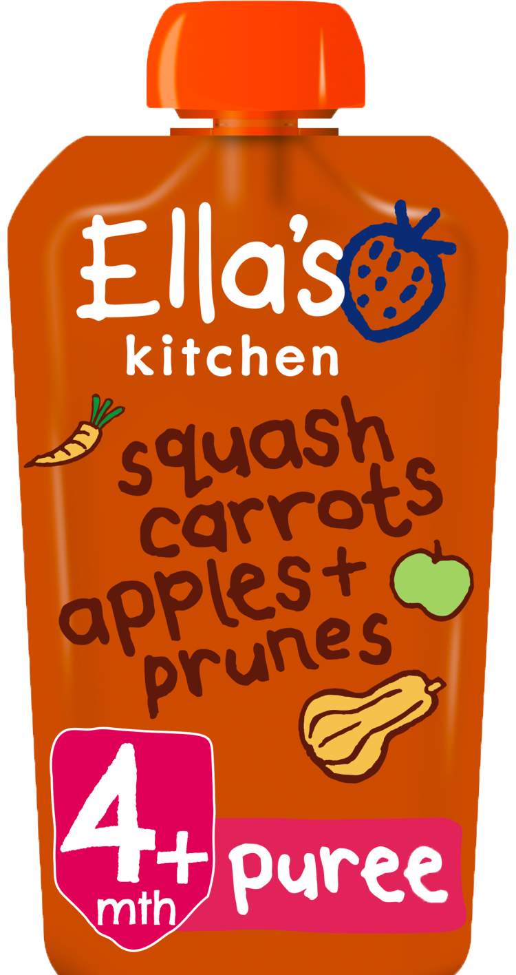 Ellas kitchen squash carrots apples prunes pouch front of pack O