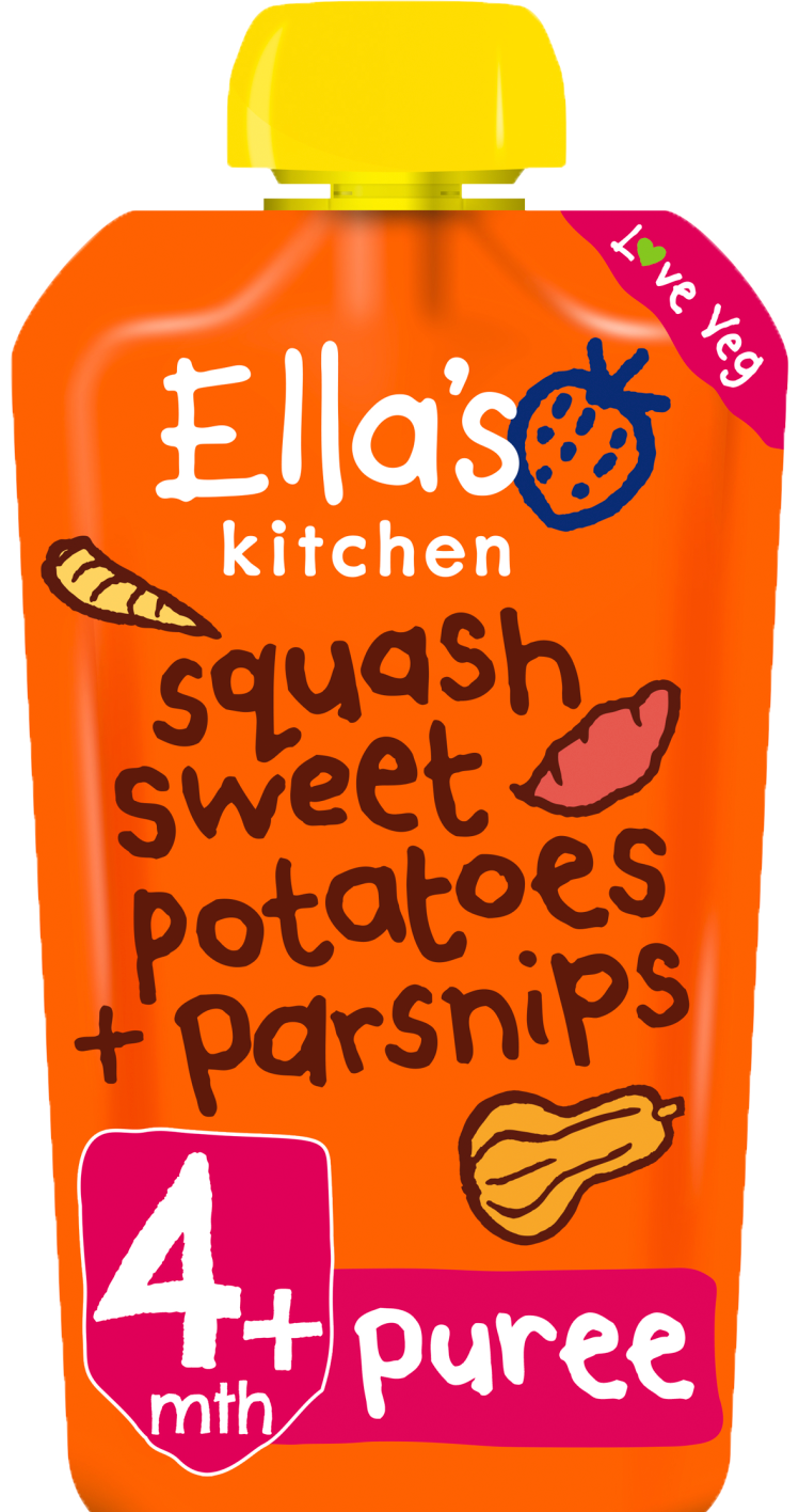 Ellas kitchen squash sweetpotatoes parnsips pouch front of pack O